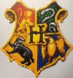"Hogwarts Crest Harry Potter Perler Bead Sprite (15 1/2"" x 17"" ) by Jemzos"