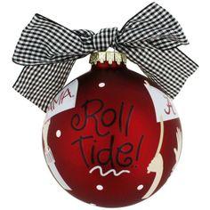 University of Alabama Roll Tide Cheer Glass Keepsake Ornament with Gift Box #UA-CHEER1 | eWAM found on Polyvore