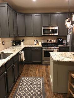 Sherwin Williams Urban Bronze Kitchen Cabinets Original Color Was A Medium  Oak.
