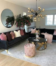 Put some blush on your home Living Room Decoration black and gold living room decor Cozy Living Rooms, Home Living Room, Apartment Living, Living Room Designs, Cozy Apartment, Black Sofa Living Room Decor, Black Sofa Decor, Rustic Apartment, Black And Gold Living Room