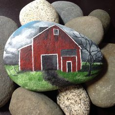 Big Red Barn hand painted beach stone by SeaShoreLife on Etsy