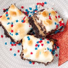 4th of July S'mores Brownie Bars