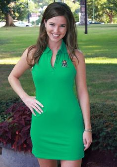 Marshall Polo Halter Dress. Kelly green with embroidered Marshall logo on left chest.