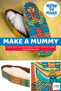 Create you own sarcophagus with a mummy inside! This is an ideal class project to accompany lessons on Ancient Egypt to help children understand how the Egyptians viewed the afterlife. Ancient Egypt Mummies, Ancient Egypt Activities, Ancient Egypt Crafts, Ancient Egypt For Kids, Egyptian Crafts, Egyptian Mummies, Egyptian Art, Ancient Egypt Lessons, Ancient Aliens