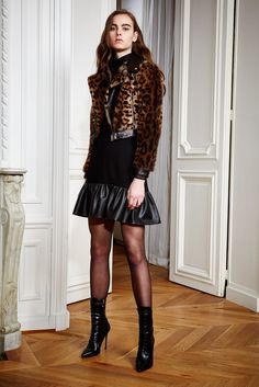Zuhair Murad | Pre-Fall 2016 | 21 Brown leopard-printed fur jacket and black mini dress with leather hem