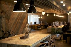 rustic wood open workspace #office