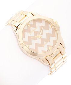 Look at this #zulilyfind! Gold & Bone Zigzag Bracelet Watch #zulilyfinds