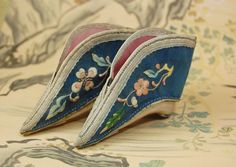 "Chinese lotus slippers shoes bound foot embroidered blue slik 4"" 19th"