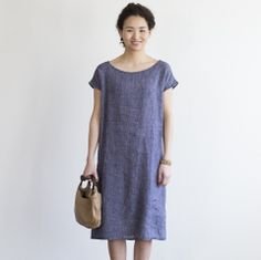 margot dress: navy plaid; fog linen. I'd like to see it in a V-neck.