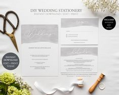 Wedding Invitation Set / Instant Download / Editable PDF / Water Colour / Modern Calligraphy / Grey / Invite / RSVP / Detail by JellypressPrintables on Etsy
