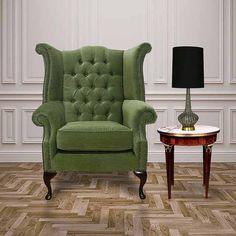 Sage Green Chesterfield fabric High Back chair | DesignerSofas4U