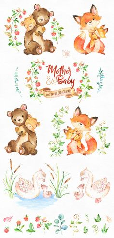 This lovely animals clipart set is just what you needed for the perfect invitations, craft projects, paper products, party decorations, printable, greetings cards, posters, stationery, scrapbooking, stickers, t-shirts, baby clothes, web designs and much more. :::::: DETAILS :::::: This collection includes: - 32 Images(Characters and floral elements) in separate PNG files, transparent background, size approx.: 12-2in (3600-600px) 300 dpi RGB ::::: TERMS OF USE ::::: ► Personal or non-pro...
