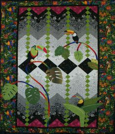 """Honorable Mention Ribbon (Mixed Technique, 1 person)   'Toucan Alley' - 64"""" x 86"""" - Quiltmaker: Lea Ann Ferring; Quilter: Lea Ann..."""