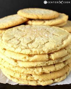 Jumbo Sugar Cookies   Center Cut Cook- used salted butter, added vanilla, and chilled the dough for about an hour. Did 1/4 a cup measure for dough instead of 1/3- still huge. Yummy and super super easy