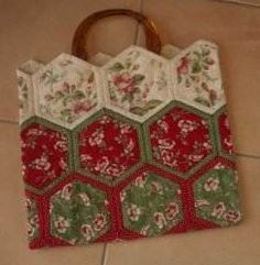 "Download free pattern for Hexagon Bag. This bag was constructed from 18 hexagons made with 8"" & 6"" hexagons."