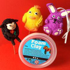 Basteln mit Wolkenschleim - Foam Clay, Silc Clay, Ostern,Osterdeko, Easter, Bunny, Sheep, Chicken, DIY