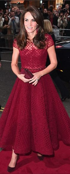 Kate Middleton in Earrings – Kate Spade  Dress – Marchesa Notte  Shoes – Gianvito Rossi  Purse – Mulberry