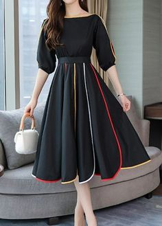 Solid Sleeves A-line Knee Length Casual/Elegant Dresses Black Dress With Sleeves, Dresses With Sleeves, Dress Black, Pretty Dresses, Beautiful Dresses, Outfit Trends, Mode Hijab, Look Fashion, Hippie Fashion
