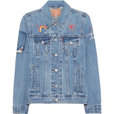 LEVI`S Boyfriend Trucker Traveling Road // Denim jacket with... (€139) ❤ liked on Polyvore featuring outerwear, jackets, fitted jacket, colorful jackets, blue jackets, embroidery jackets and boyfriend denim jacket