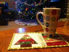 All sizes   christmas tree mug rug - at work.   Flickr - Photo Sharing!