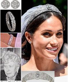 May 2018 - Meghan Markle wore Queen Mary's Bandeau Tiara for her royal wedding to Prince Harry. Harry And Meghan Wedding, Harry Wedding, Prince Harry And Megan, Royal Crowns, Royal Tiaras, Tiaras And Crowns, Royal Crown Jewels, Kate Middleton, Princess Meghan
