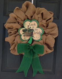 "St. Patricks Day Burlap Wreath, Burlap Shamrock ""Happy St. Patty's Day"" Adornment, 25"" x 25"" on Etsy, $65.00"