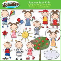 Summer Stick Kids Clip Art by ScrappinDoodles on Etsy, $3.99