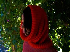 Red Hood Hooded Scarf Red Hood Hat Red Crochet Hood by OCcreation