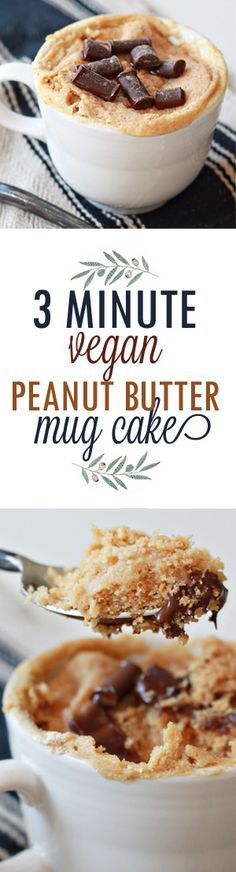 Easy Vegan Peanut Butter Mug Cake recipe - Just 3 minutes from sweet tooth attack to bliss! Delicious whether you're vegan or not. Vegan/dairy-free with gluten-free option. #veganmugcake