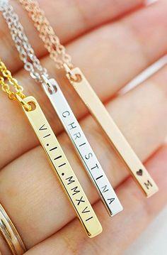 Vertical Name Necklace name bar
