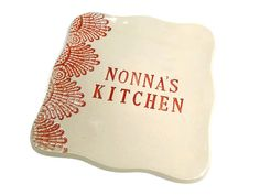 Nonnas Kitchen Dish  Each dish is hand sculpted, stamped and glazed by me. Actual plate is pictured.  Measures 6 1/2 square.  Glaze is food