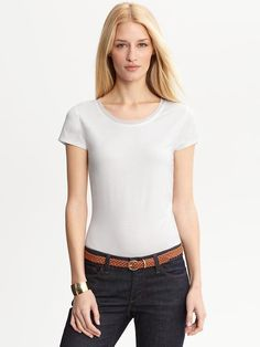 Luxe-touch piped neckline tee  White | Banana Republic 36 XS fits