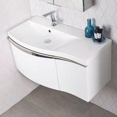 Roper Rhodes Serif Wall Mounted Vanity Unit With Isocast Resin Basin - Left Hand - White Illuminated Bathroom Cabinets, Bathroom Sink Units, Downstairs Bathroom, Bathroom Vanities, Roper Rhodes, Minimalist Closet, Basin Unit, Bathroom Design Luxury, Bathroom Designs