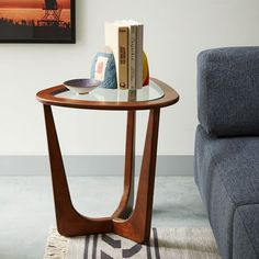 Mitchell Side Table | west elm The height of this table would be good with the blue glass lamp on it.