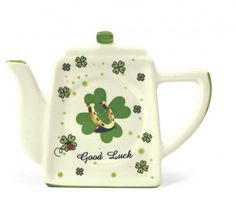Ceramic Tea Bag Holder Irish Four Leaf Clover Horseshoe painted Porcelain 7228B