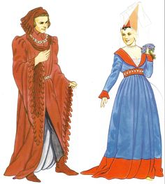 """c. 1400 The man wears a red houppeland with daggeddalmation sleeves anda chaperonwhich is also dagged. The woman wears a dress with astyle very popular in this period. The neckline forms a deep V to the waistband, with a ruched bib underneath coming up higher to the neckline. The blue gown is trimmed with red velvet. This style of gown was often known as a """"Burgundian gown."""" She wears a hennin with a butterfly styled veil."""