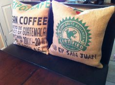throw pillows. thankfully, we have the Guatemalan coffee hookup. :)