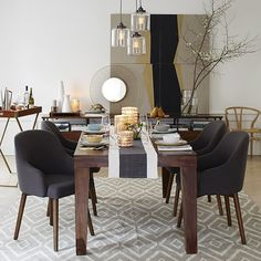 Carroll Farm Dining Table | West Elm - SHOWING WITH SADDLE CHAIRS