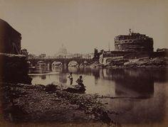 1862 circa Molins Pompeo . Tevere a Ponte S. Angelo con pescatori in primo piano