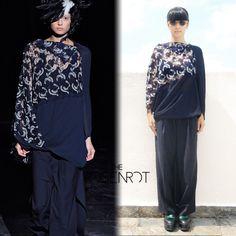 JUNYA WATANABE COMME DES GARCONS SS2012 Lace-Panelled Navy Tunic Blouse Sz XS #JunyaWatanabe #Tunic