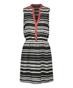 Love this Black & White Stripe Sleeveless Dress by Dex on #zulily! #zulilyfinds