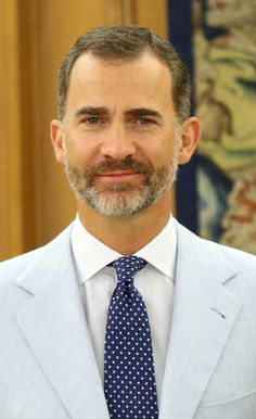 King Felipe VI of Spain Receives Pedro Luis Alonso Fernandez, Director of Global Malaria Problem at World Health Organization, at Zarzuela Palace on 28.08.2014 in Madrid, Spain.