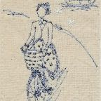 """Betty Turns a Corner"" Michelle Holmes at Archangel Studio Comtemporary Embroidered Textiles - there are lots and lots of Betty drawings around"
