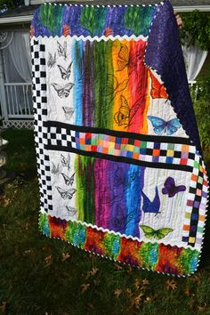 Handmade Quilt Rainbow Modern Quilt Layaway Available Butterfly Fantasy Primary Colormorphis Abstract Art Large Wallhanging Throw Quilt