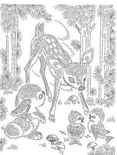 Vintage Hand Embroidery PATTERN 7027 Pair of Deer Pictures for Childs