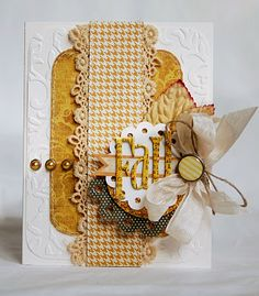 houndstooth with crocheted lace, love the layers of this handmade card
