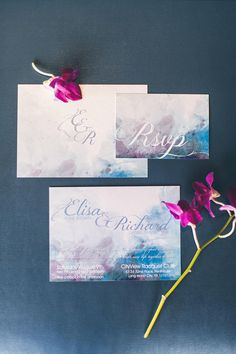 An amazing Watercolor Wedding Invitation design, featuring a watercolor wedding invitation card in blue/lavender, and complimented by