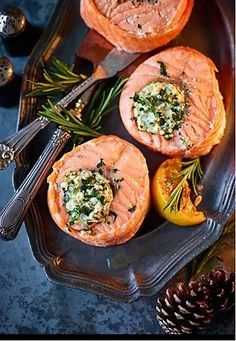 Roasted Scottish Lochmuir salmon medallions with a creamy roasted garlic and mascarpone stuffing