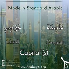 Let's Learn new Arabic words ☺️ Tell us your country's Capital, and try to write it in Arabic 💪 Modern Standard Arabic, Arabic Language, Learning Arabic, Arabic Words, New Words, Cairo, Vocabulary, Egypt, Let It Be