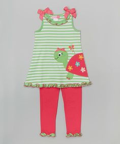Good Lad Lime & Pink Stripe Turtle Tunic & Leggings - Girls | zulily